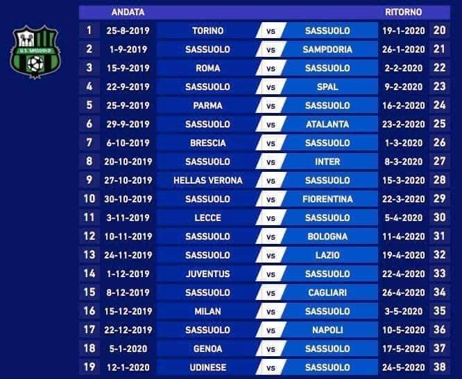 Calendario Serie B 2020 19.Calcio Sassuolo Ecco Il Calendario Del Campionato Di Serie