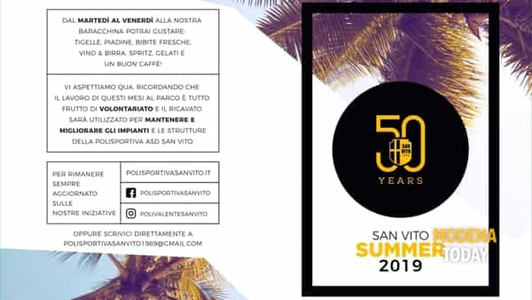 """""""san vito summer 2019"""" due mesi di iniziative nella frazione spilambertese per festeggiare i 50 anni della polivalente-2"""