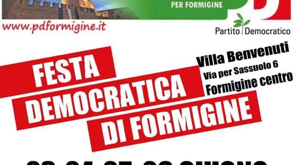 Formigine, dal 23 giugno torna la Festa Democratica