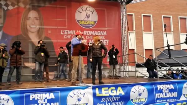 IL VIDEO - Salvini e Borgonzoni a Maranello per l'ultimo appello al voto